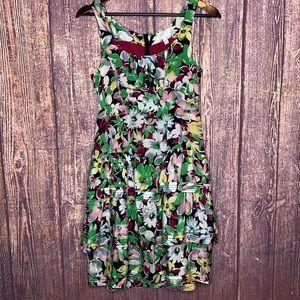 ANTHRO Akebia silk floral tiered mini dress size 4